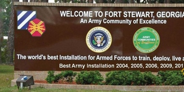 The gate at Fort Stewart, Georgia.