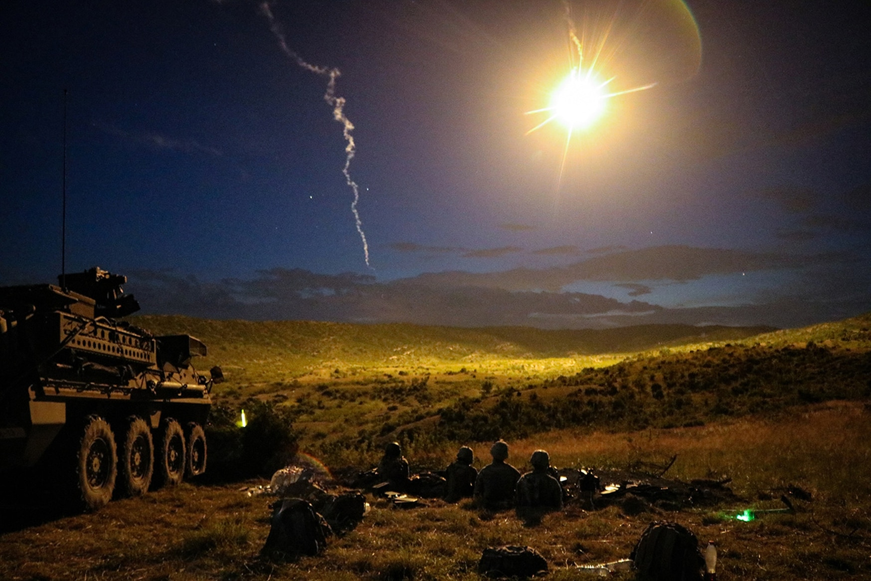 Soldiers conduct a night iteration of a Combined Arms Live Fire Exercise during Exercise Decisive Strike 2019 at the Training Support Centre, Krivolak, North Macedonia, June 11, 2019. (Staff Sgt. Frances Ariele Tejada/Army)