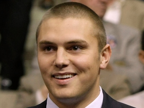 Track Palin, son of Sarah Palin, seen here during the 2008 Republican National Convention, was arrested Saturday and has been charged with domestic violence assault, his third such incident. (Charles Rex Arbogast/AP)