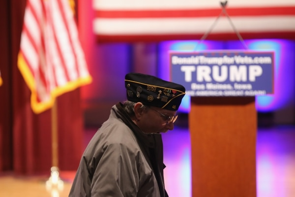 DES MOINES, IA - JANUARY 28: Veterans await the arrival of Republican presidential candidate Donald Trump during a