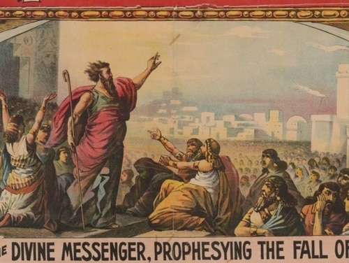 A portion of an 1892 circus poster showing Jonah prophesying the Median assault on Nineveh, (Adam Forepaugh, Courier Litho. Co., now in the collections of the Library of Congress)