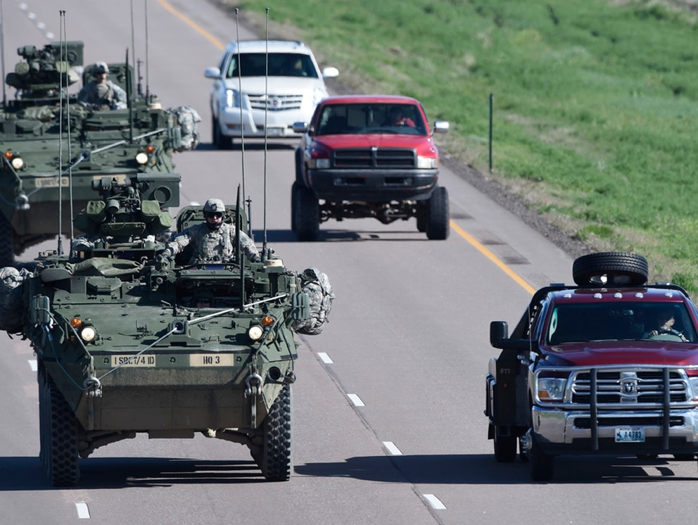 Strykers from Fort Carson, Colo., head south on I-25 south during an exercise in 2015. Fort Carson officials on Aug. 23, 2017, said a soldier died during training. The soldier's name has not been released, and the incident is under investigation. (Mark Reis/The Gazette via AP)
