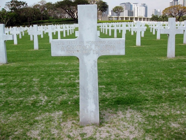This 2011 photo provided by Ted Darcy, shows the unknown soldier grave site of Richard Murphy at the Manila American Cemetery at suburban Taguig city, east of Manila, Philippines. The body of the former journalist and U.S. Marine spent decades in this unknown soldier grave. (Ted Darcy via AP)