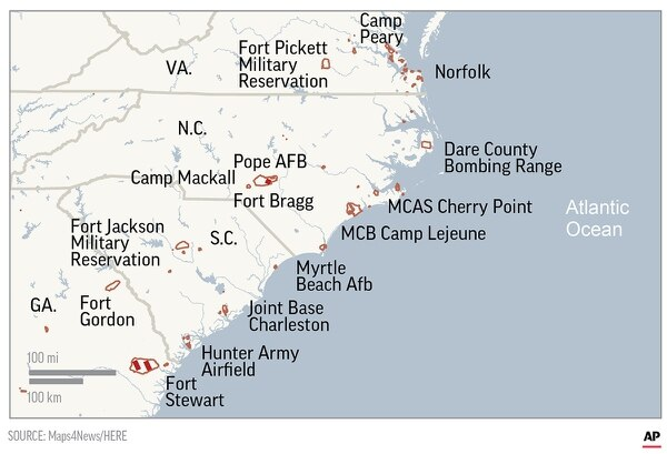 This map shows the military installations across the Carolinas and parts of Virginia and Georgia. (AP)