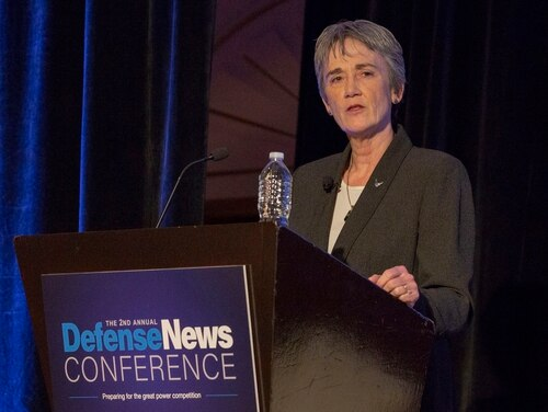 "Heather Wilson, secretary of the Air Force, delivers the keynote address at the second annual Defense News Conference in Arlington, Va., Sept. 5. She told those in attendance that she is in ""complete alignment"" with President Trump's order to create a separate Space Force. (Amber Corrin/Staff)"