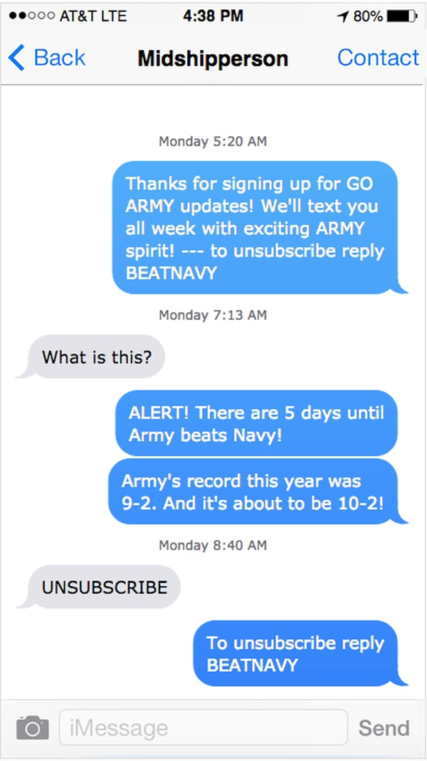 A text exchange with West Point grad Mike Nemeth as part of a prank ahead of the Army-Navy game. (Mike Nemeth)