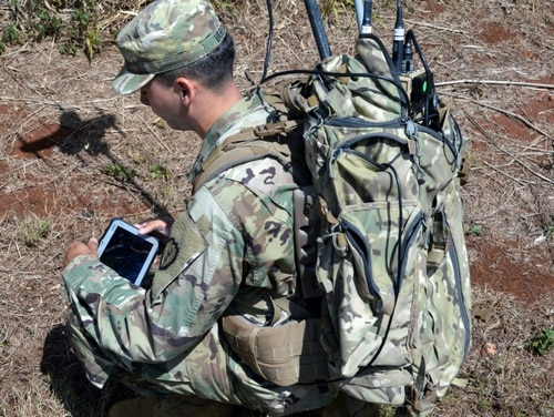 Sgt. Orlando Varela, an electronic warfare specialist assigned to 1st Battalion, 21st Infantry Regiment, 2rd Brigade Combat Team, 25th Infantry Division, receives training on the Versatile Radio Observation and Direction (VROD) finder at Schofield Barracks, Hawaii, on Sept. 12, 2017. The 3rd BCT electronic warfare section gave specific instruction on how to properly use it in the field. (Photo by Staff Sgt. Armando Limon/U.S. Army)