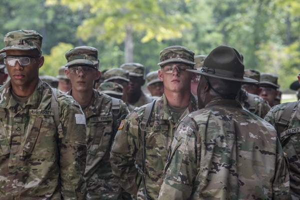 New soldiers arriving for their first day of basic combat training on Fort Jackson, S.C., are welcomed by drill sergeants from both the Army and Army Reserve. (Sgt. 1st Class Brian Hamilton/Army)