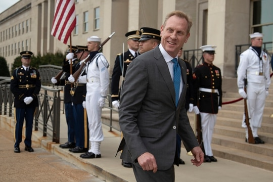 Acting Secretary of Defense Patrick Shanahan responds to reporters outside the Pentagon on June 7, 2019. (Manuel Balce Ceneta/AP)