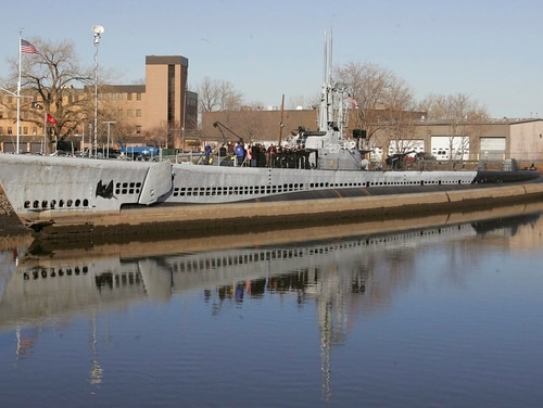 The USS Ling, a World War II-era submarine docked at the New Jersey Naval Museum in Hackensack, N.J. Authorities say four bronze plaques taken from the World War II-era submarine in New Jersey have been recovered. (Rich Schultz/AP)