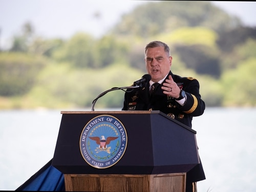 Gen. Mark A. Milley speaks at a change-of-command ceremony for the U.S. Indo-Pacific Command on April 30, 2021, at Joint Base Pearl Harbor-Hickam, Hawaii. (Cindy Ellen Russell/Honolulu Star-Advertiser via AP)
