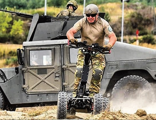The EZRaider is an offroad electric scooter that soldiers are testing at the annual Army Expedionary Warfighter Experiments at Fort Benning, Georgia. (EZRaider)