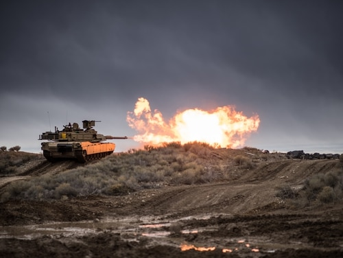 Idaho National Guard tankers from the 116th Cavalry Brigade conduct platoon gunnery Feb. 4, 2019, at the Orchard Combat Training Center. (Army)