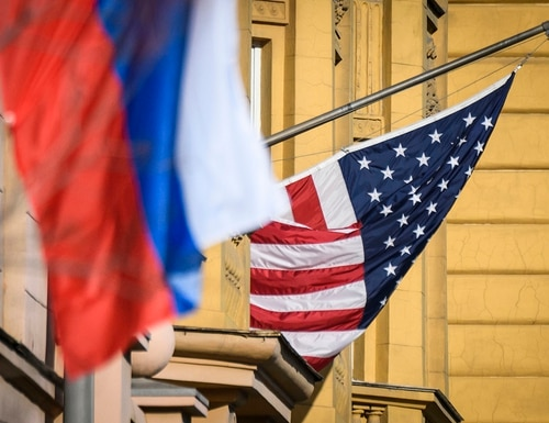 A Russian flag flies next to the US embassy building in Moscow on Oct. 22, 2018. US national security adviser John Bolton is in Moscow holding meetings with senior Russian officials following Washington's weekend announcement of withdrawal from the Cold War-era Intermediate-Range Nuclear Forces Treaty, known as the INF. (Mladen Antonov/AFP via Getty Images)