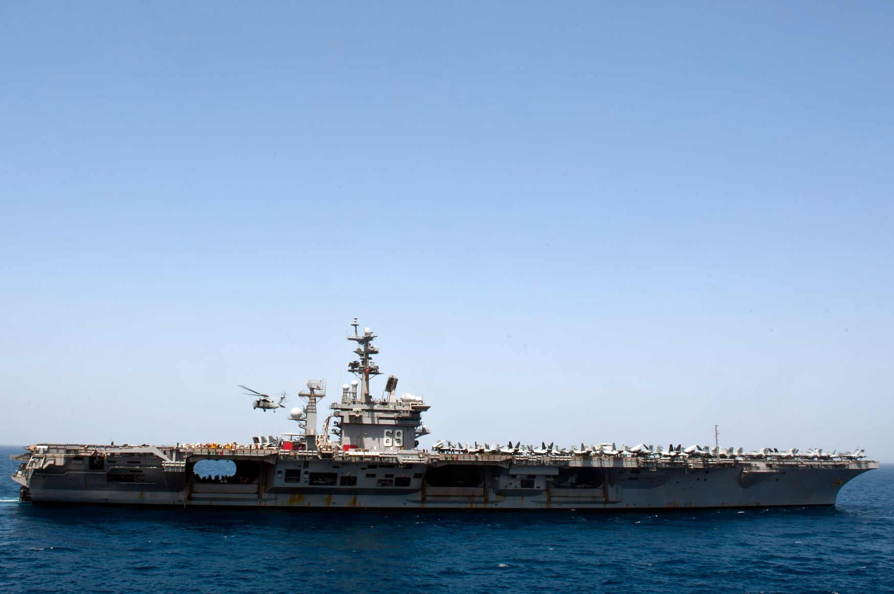 Eisenhower transits the Gulf of Aden after a replenishment-at-sea. (MC2 Matthew Cole/U.S. Navy)
