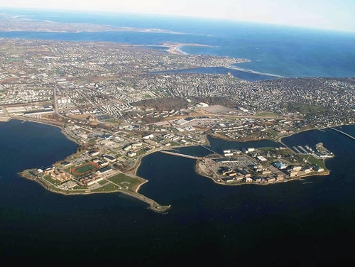 An aerial view of Naval Station Newport, R.I. (Elizabeth M. Baker/Navy)