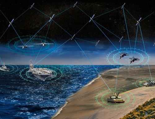 An artist's rendering of Northrop Grumman's position, navigation and timing capability for DARPA's Project Blackjack. (Northrop Grumman)