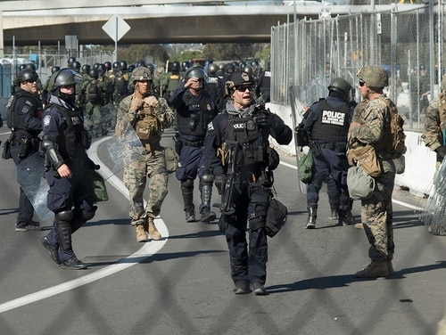 Soldiers and Marines attached to Special Purpose Marine Air-Ground Task Force 7 join Customs and Border Protection at San Ysidro Point of Entry, Calif., Nov. 25, 2018. Department of Defense military personnel will not be conducting law enforcement functions, but are authorized to provide force protection for Customs and Border Protection personnel and help make sure CBP personnel can perform their assigned federal functions. (Staff Sgt. Jesse Untalan/Army)