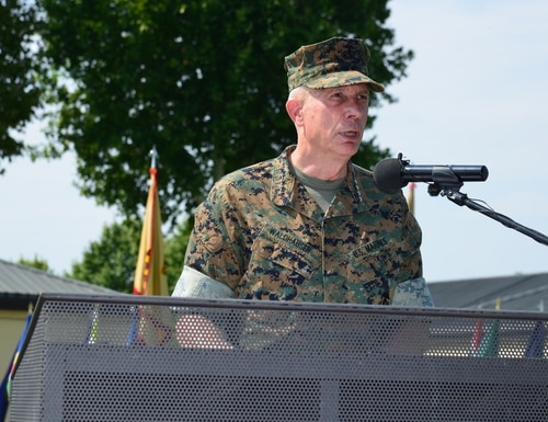 Marine Corps Gen. Thomas D. Waldhauser, commander of the U.S. Africa Command, delivers remarks Aug. 2, 2018, during the U.S. Army Africa-Southern European Task Force change of command ceremony at Caserma Carlo Ederle in Vicenza, Italy. (Paolo Bovo/Army)
