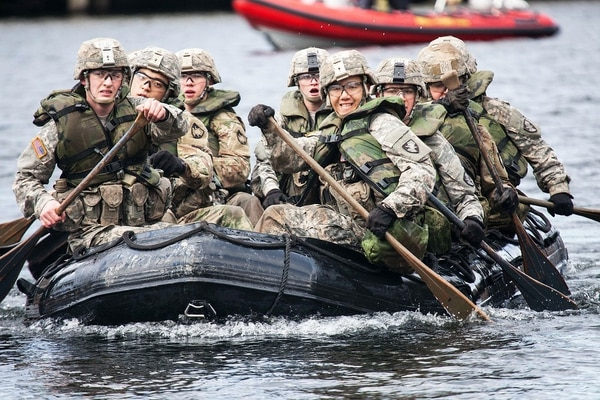 During Sandhurst, teams representing international military academies, the U.S. service academies and eight ROTC programs compete in 11 events throughout a 23-mile course. The Army is looking for ROTC instructors. (Michelle Eberhart/Army)