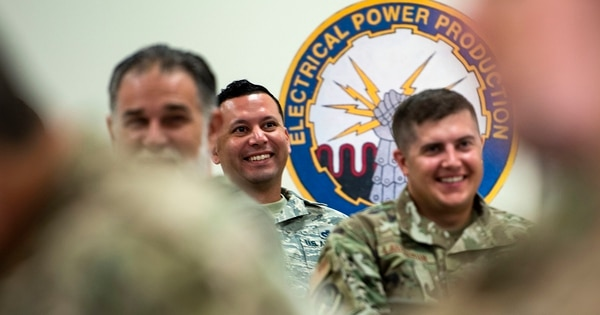 Airmen from the 23rd Civil Engineer Squadron share a smile during resiliency training Sept. 10 at Moody Air Force Base, Ga. Hosted by the 23rd Wing chaplain, the event provided practical approaches airmen can use to improve the resiliency culture in their squadron. (Senior Airman Erick Requadt/Air Force)