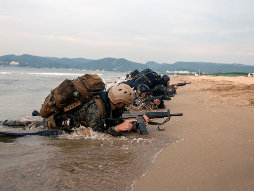 U.S. Marines and marines of the Republic of Korea practice beach insertion on July 16, 2019, during the Korean Marine Exchange Program in South Korea. (Lance Cpl. Ethan M. LeBlanc/Marine Corps)