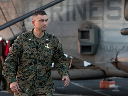 Marine Corps Lt. Col. Francisco Zavala, commanding officer of Special Purpose Marine Air-Ground Task Force - Peru, walks the flight deck aboard the San Antonio-class amphibious transport dock ship USS Somerset (LPD 25) in the Pacific Ocean, Nov. 16, 2018.(Cpl. Joseph Prado/Marine Corps)