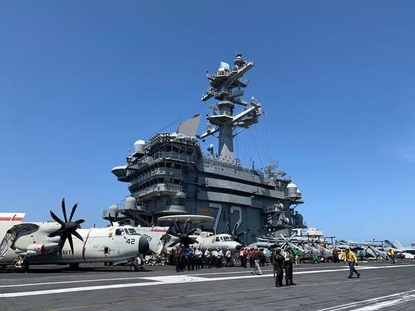 On April 23, Defense News landed aboard the aircraft carrier Abraham Lincoln in the Mediterranean Sea for an exclusive interview. (Matthew Bodner/Staff)