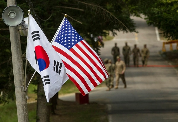 The South Korean and American flags fly next to each other at Yongin, South Korea, Aug. 23, 2016. (Staff Sgt. Ken Scar/Army)