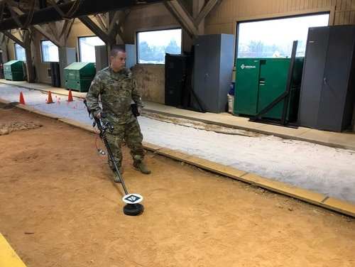 The virtual reality technology under development will give bomb technicians a colorful view underground of the shape and size of buried threats such as landmines or IEDs. (Todd South/Military Times)