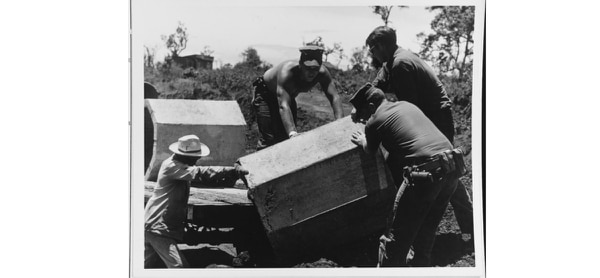 Three U.S. Navy Seabees assist a South Vietnamese man in removing truck from a culvert near the village of Ta-Ly, South Vietnam, in 1966. Seabees constructed a new bridge and road in their spare time to enable trucks to go directly to the village. Previously, villagers had to carry goods to the trucks at the main roadway. Culverts replaced an old wooden bridge. (National Archives)