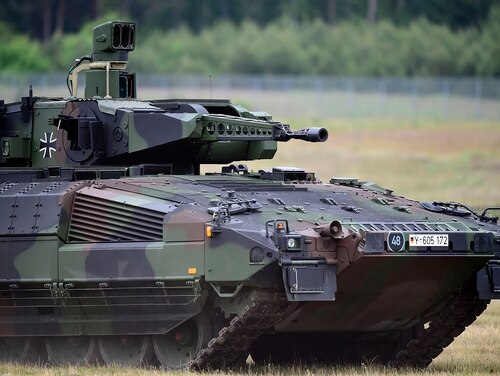 The Puma light tank is seen during the official handover ceremony of the tank to the German armed forces. The U.S. Army is looking to procure its own light tank soon to add to formations that would provide increased protection and firepower in areas that the M1A2 Abrams cannot (Alexander Koerner/Getty Images)