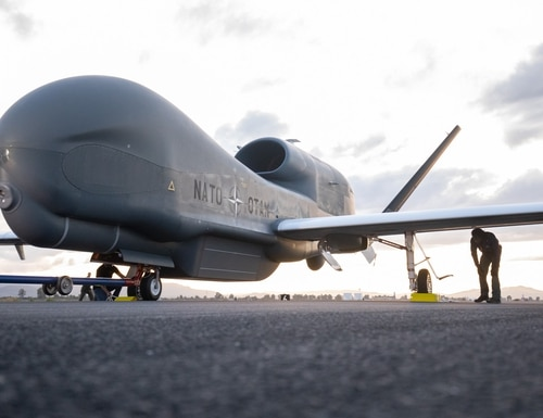 NATO's first RQ-4D Alliance Ground Surveillance drone, a Global Hawk derivative, arrives at Sigonella Air Station in Sicily, Italy, in November 2019.