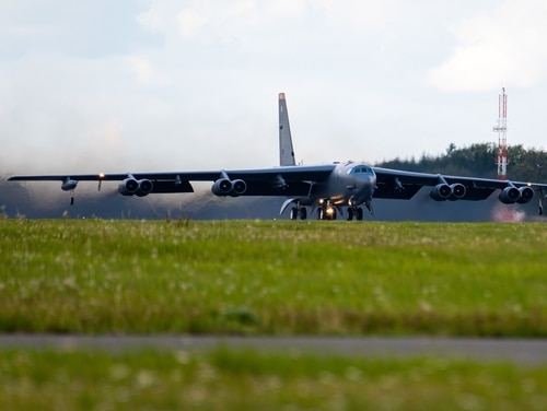 A B-52 Stratofortress takes off from RAF Fairford in England Aug. 31. Three B-52s from Fairford flew to Ukraine Sept. 4 to train with the nation's troops, in an effort to deter Russia in the tense region. (A1C Jesse Jenny/Air Force)