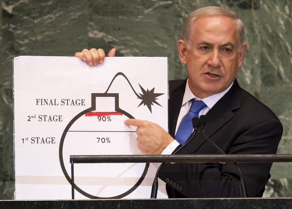In September 2012, Israeli Prime Minister Benjamin Netanyahu used a diagram of a bomb to describe Iran's nuclear program while delivering his address to the 67th United Nations General Assembly meeting. (Don Emmert/AFP via Getty Images)