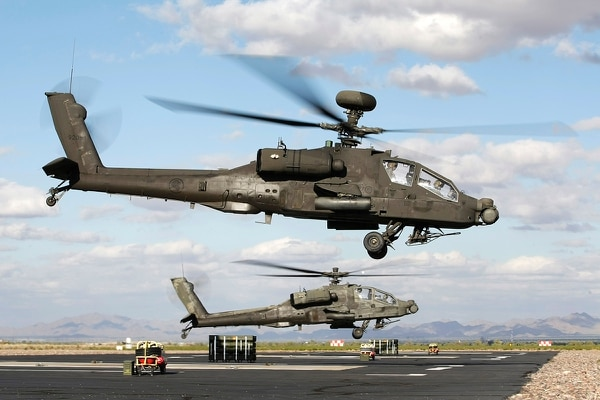 The Republic of Singapore Air Force operates 20 AH-64D helicopters, with eight based at the Silverbell Army Heliport in Marana, Ariz., shown here. (Singapore's Ministry of Defence)