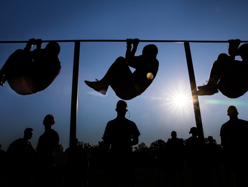 New West Point cadets practice their leg tucks during their first Army Combat Fitness Test at West Point, N.Y., July 14, 2020. (Michelle Eberhart/Army)