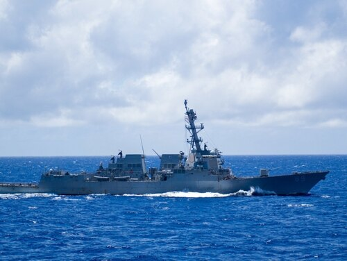The guided-missile destroyer Mustin at sea in 2020. (U.S. Navy)