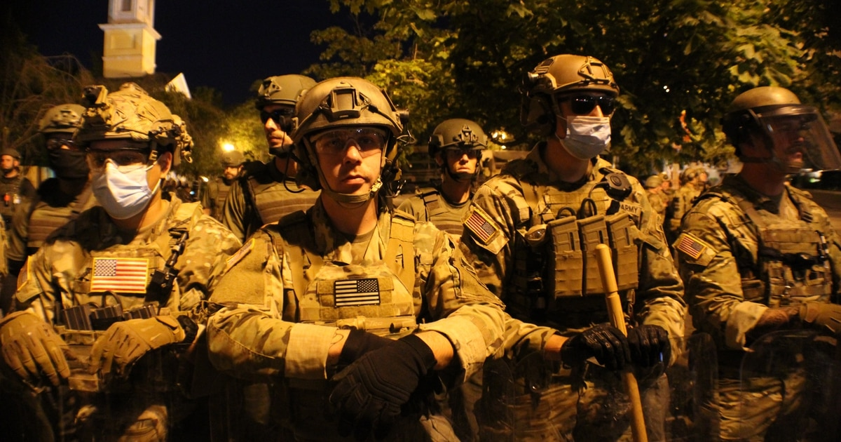 No, those weren't active duty troops on the streets of D.C. last night, officials say