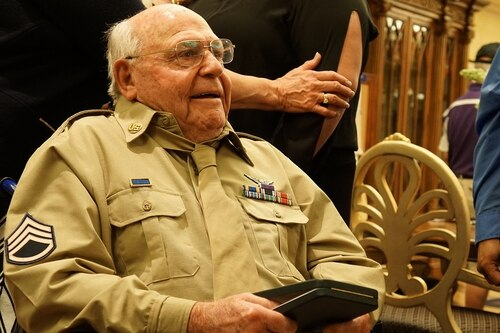 World War II veteran Edward Mims received his Purple Heart 74 years after being caught in enemy fire. (Kevin Larson/Army)