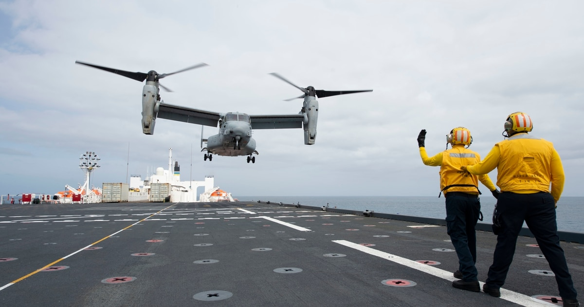 V-22 Osprey conducts inaugural landing on hospital ship Mercy's new flight deck