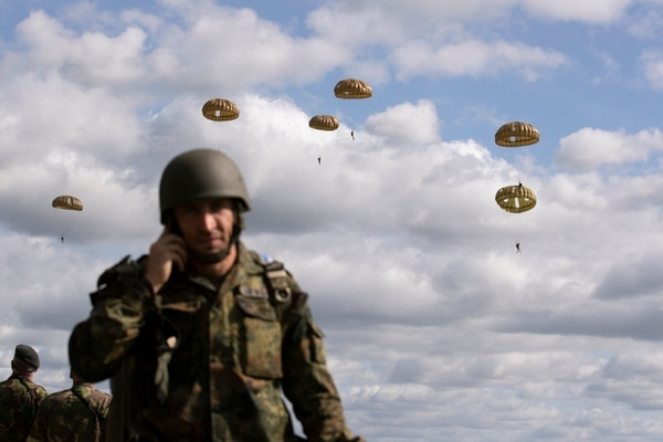 Parachutist jump from a plane near Groesbeek, Netherlands, Thursday, Sept. 19, 2019, as part of commemorations marking the 75th anniversary of Operation Market Garden, an ultimately unsuccessful airborne and land offensive that Allied leaders hoped would bring a swift end to World War II by capturing key Dutch bridges and opening a path to Berlin. (Peter Dejong/AP)