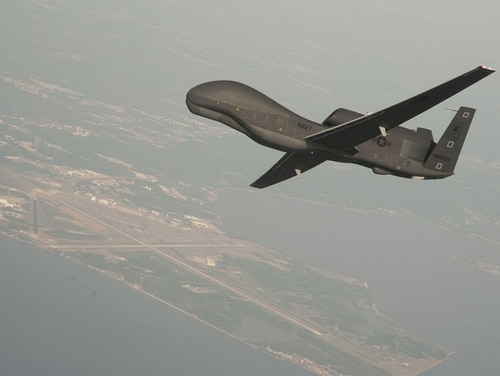 120611-O-ZZ999-101 WASHINGTON (June 11, 2012) In this undated file photo provided by Northrop Grumman, an RQ-4 Global Hawk unmanned aerial vehicle conducts tests over Naval Air Station Patuxent River, Md. (Northrop Grumman via US Navy)