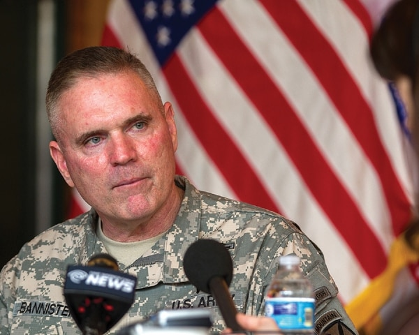 Maj. Gen. Jeffrey Bannister, then the commander of the 10th Mountain Division and Fort Drum, New York, listens to a question during a media event on post. Bannister died May 27, 2018, just days before he was set to retire. (Master Sgt. Kap Kim/Army)