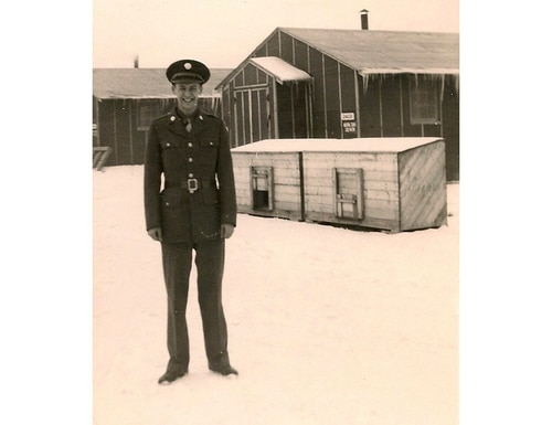 In this undated photo provided by the March Field Air Museum, Army Air Forces Staff Sgt. Vincent J. Rogers Jr. poses for a photo at Truax Field Air National Guard Base in Madison, Wis. U.S. military officials say the remains of the western New York airman killed in a plane crash in the Pacific during World War II have been identified. Rogers was from Snyder, N.Y, outside of Buffalo. (March Field Air Museum via AP)