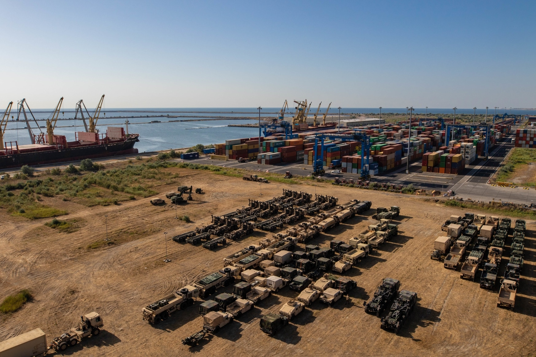 A staging area is pictured holding the overflow vehicles that must get ready for shipment back to the United States at the Port of Constanta, Romania, July 1, 2019, following training. (Pfc. Laurie Ellen Schubert/Army)