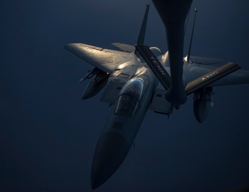 An F-15C Eagle receives fuel from a KC-135 Stratotanker, May 12, 2019. (Sr. Amn. Keifer Bowes/Air Force)
