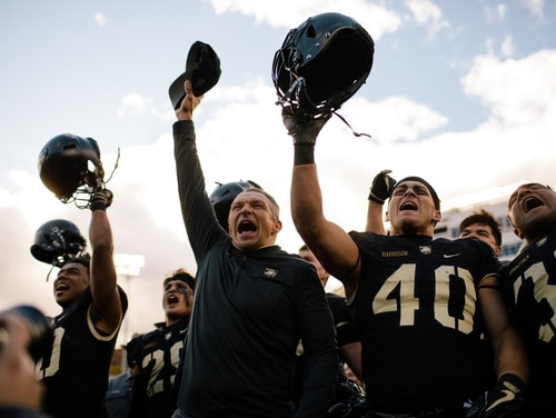 Army coach Jeff Monken takes the field with the Black Knights team before their Nov. 3 game against Air Force at Michie Stadium in West Point, N.Y. (West Point)
