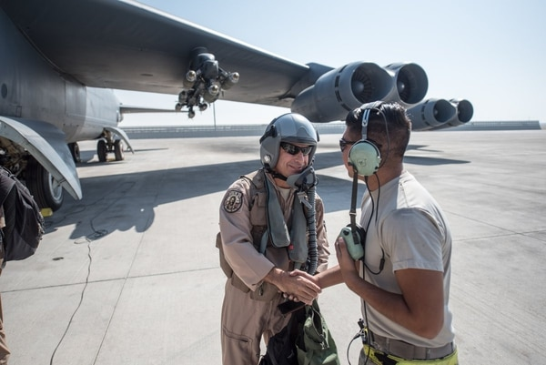 AFCENT Commander Lt. Gen. Jeffrey Harrigian flew one of the final combat missions for the B-52 March 30 before the Stratofortress left the Middle East. (AFCENT)