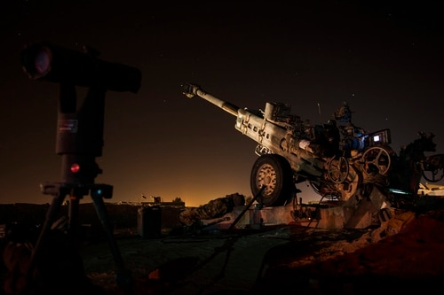 U.S. Army 3rd Brigade 10th Mountain Division 5-25 Field Artillery, Charley Battery waits after a fire mission near Rawah, Iraq, on Nov. 16, 2017. (Spc. Torrance Saunders/Army)